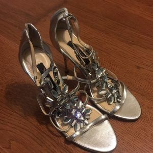 Silver Jeweled Shoes